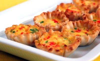 Filo Cups with Tomato Goat Cheese Salad